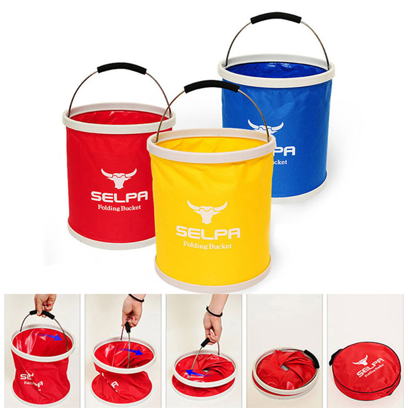 Outdoor Folding Bucket Camping Bucket Environmental Friendly Portable Folding Barrel 11L Storage Compressed bucket #2o05 (5)