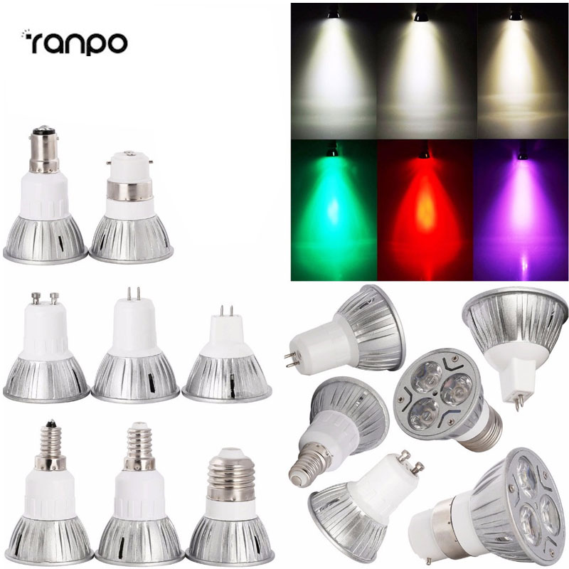 10X 20X Wholesale 3W LED SpotLight Bulb E26/27 E14 E12 GU10 B22 MR16 High Power Lamp 12V Purple/Warm White/Red/Green/Blue/Yellow цены