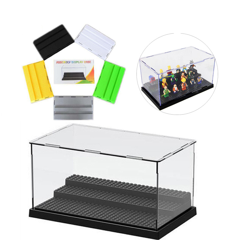 New Figure Protection Showcase 8 Colors Display Box with 3 Steps Base Plate for DIY Doll Building lEgOings Blocks For Children 3 steps display case box dustproof showcase gray base acrylic plastic display box case 25 5x15 5x13 8cm 5 colors