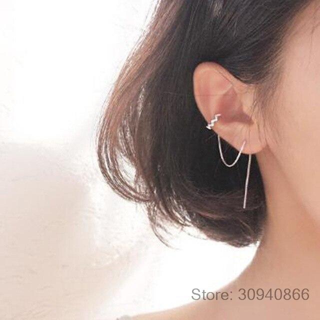 Wave Ear Wire Korea Long Zirconia 925 Sterling Silver Temperament Personality Fashion Female Earring Fine Jewelry