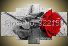 Handmade 5 Piece Wall Art Oil Paintings On Canvas Large Flowers Pictures For Living Room As Unique Gift Red Rose Free Shipping