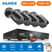 SANNCE 4CH 720P CCTV System 1080N 5IN1 HDMI DVR 2PCS/4PCS AHD 1200TVL Outdoor Weatherproof Camera Home Security Surveillance Kit