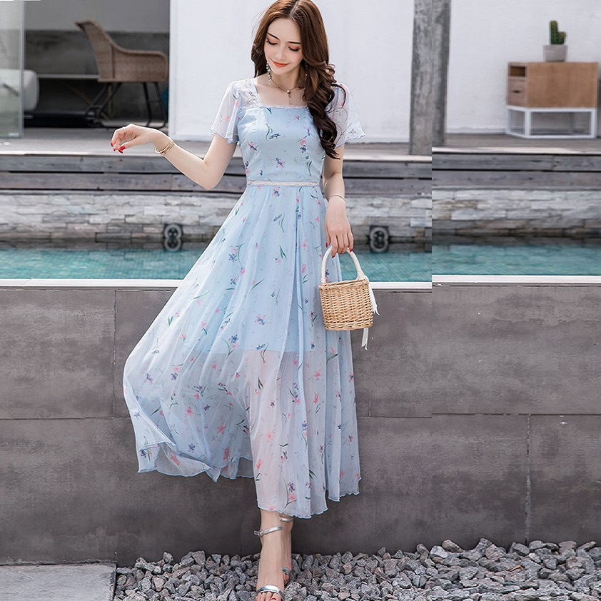 2018Women Summer long chiffon dress big bottom floral chiffon party Dress elegant vacation beach dress Plus