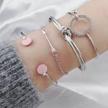 Fashion Minimalist Circle Knotted Zircon Arrow Bracelets & Bangles Alloy Bracelet Creative 2018 Woman Jewelry