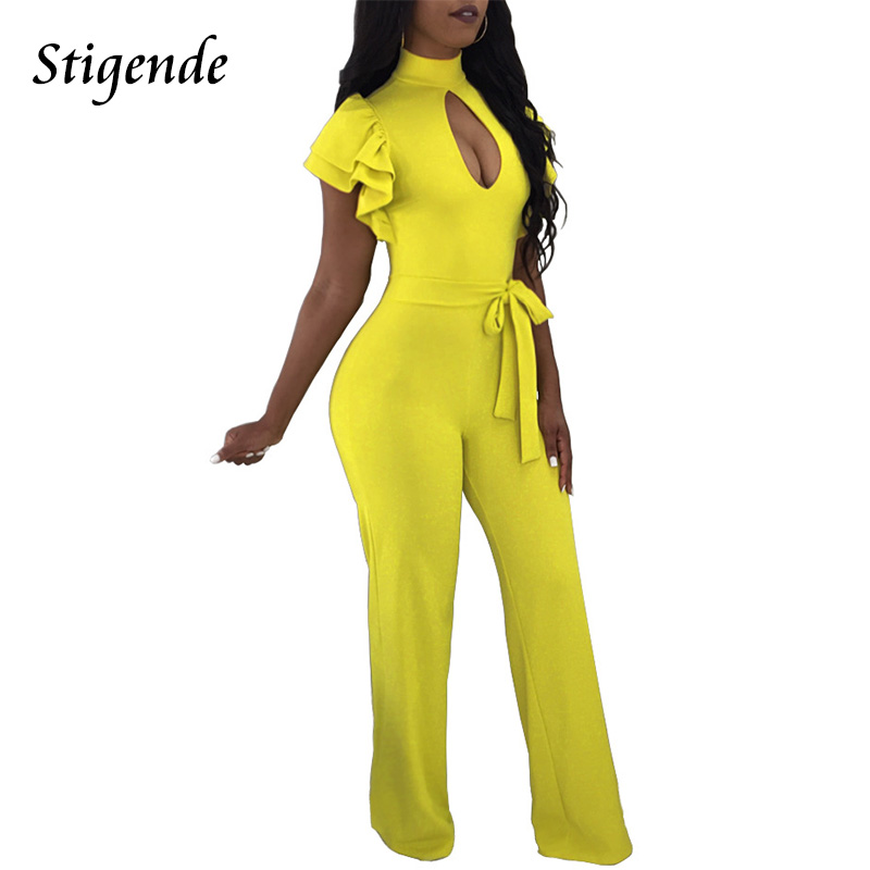 Stigende PLUS SIZE Short Ruffles Sleeve Jumpsuit Women Open Front Sexy Jumpsuit Casual Wide Leg Elegant Jumpsuit One Piece Pants