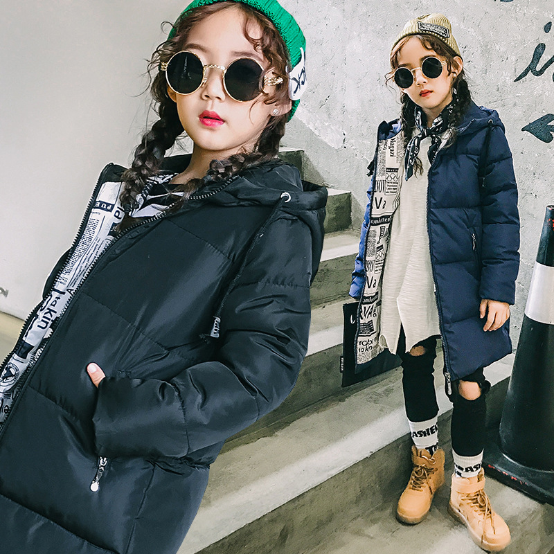 Girls down jacket coat winter for size 6 7 8 9 10 11 12 13 years old children clothing 2017 new black white blue long outerwear river old satellite maxima vespa 7 6 гр код цв 13