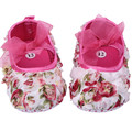 2017 New Baby Girl Shoes 0-1 Year Newborn Pink Flower Infant Girls Baptism First Walkers Bowknot Toddler Christening Shoes