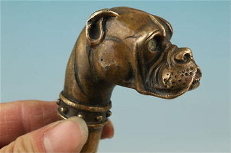 OLD BRONZE sculpté à la main Crâne Antique Statue Cane Canne Tête