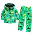 Горячие продажи теплый плащ и водонепроницаемые брюки oufits детская мода 2016 девушки одежда наборы