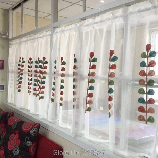 XinHuaEase Super Value Short Curtain Panel Voile Window Curtains Door Kitchen  Curtains Coffee White Sheer Tulle Cafe Embroidery In Curtains From Home ...