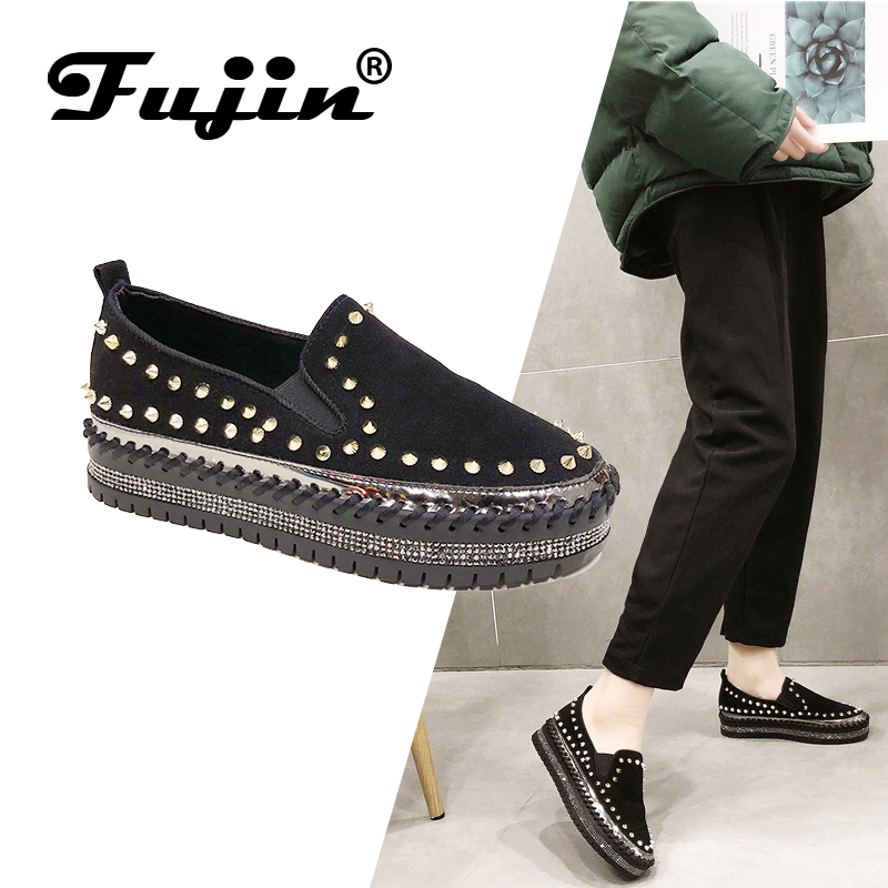 FUJIN Female Shoes Spring Women Flats Comfortable Autumn Summer Casual