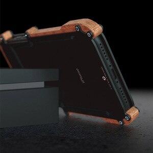 Image 5 - R just etui na iPhone 7 8 Plus, odporna na wstrząsy obudowa z drewna metalowa rama zderzak pokrywa dla iPhone 8 6 6S Plus 5 5S SE obudowa aluminiowa