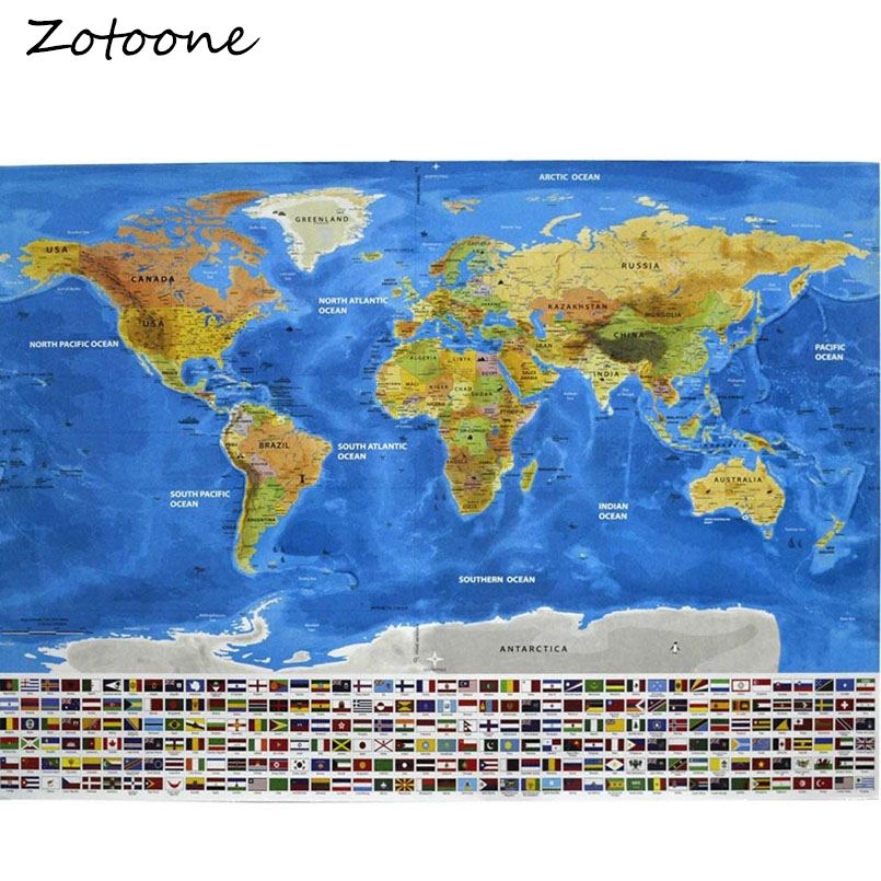 ZOTOONE New Design Ocean Deluxe Scratch Maps Wall Stickers Luxury Edition Ocean World Map Wall Decor Best Gift For Travelers
