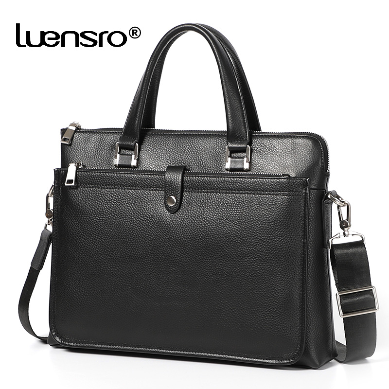 LUENSRO 2019 New Designer Briefcase Genuine Leather Male Handbag Anti Theft Shoulder Laptop Men Bags Business Men's Briefcase
