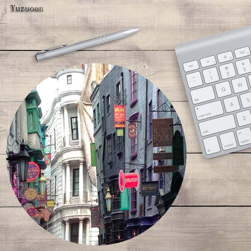 Yuzuoan House Landscape Round Mouse Pad Customize Your Own Image Good Quality Anti-Skid Game keyboard Mat Table Mats For LOL