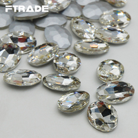 Oval Pointback 4x6mm 20x30mm Crystal Clear Color Glass Stones Non Hotfix Nail Art Rhinestones For Evening
