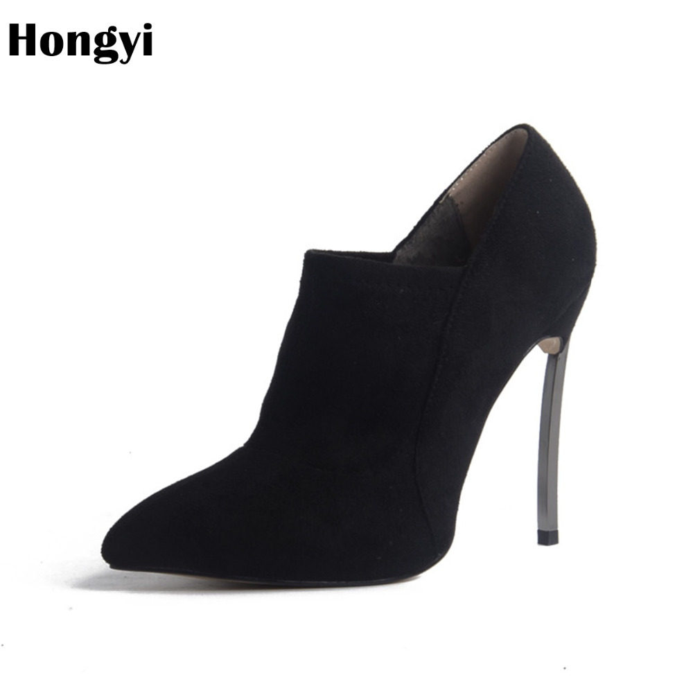 купить Hongyi 2018 new style women Black Nude Suede boots shoes Ankle boots Short spring style fashion pointed shoes high heels boots по цене 4417.03 рублей