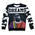 Alisister новая мода мужчин/женщин Biggie smalls/Тупак/Алиса/череп цветок толстовка 3d печать мужская пуловер с капюшоном хип-хоп рубашка