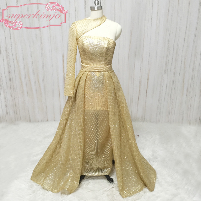 136c37a561f8d gold sequins evening dresses one shoulder long sleeve bling bling a line  detachable train glitter glued Lace long evening gowns