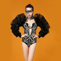 Sparkly Crystals Big Shrug Sexy Costume Rhinestones Bodysuit Evening Outfit Celebrate Party Leotard Women Stage Dance Wear DJ DS