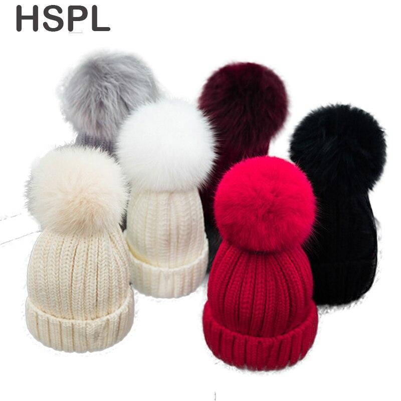 HSPL Fox fur Ball Hat Women s Cap Knitted Sweater Black Beanie Hats For  Winter Bone Fashion Warm Beanie Caps b4454decfd5