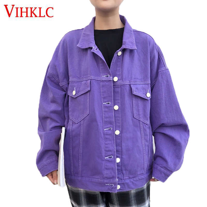 Denim Jacket Female Autumn 2018 New Fashion Loose Wild Cowboy Women's Clothing Korean Bf Wind Purple Jackets Large Size Hot Z123