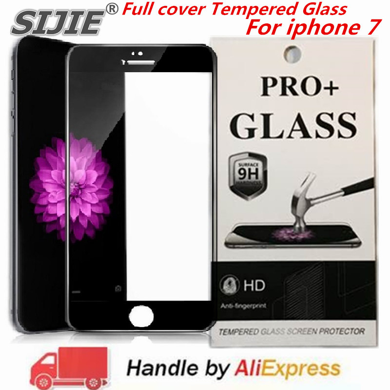 Full cover Tempered Glass For iphone 7 4 7 inch Suitable screen protective toughened frame edge case friendly black white in Phone Screen Protectors from Cellphones Telecommunications