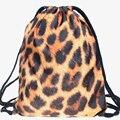 Mulheres mochila feminina harajuku saco de cordão unisex mochilas 2015 nova moda escolar softback mochila 3d pele de impressão pantera