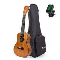 Kmise Concert Ukulele Mogno 23 polegada Havaí Uke Ukelele 4 Cordas Aquila Cordas Da Guitarra Celluloid Encadernação com Gig Bag Sintonizador