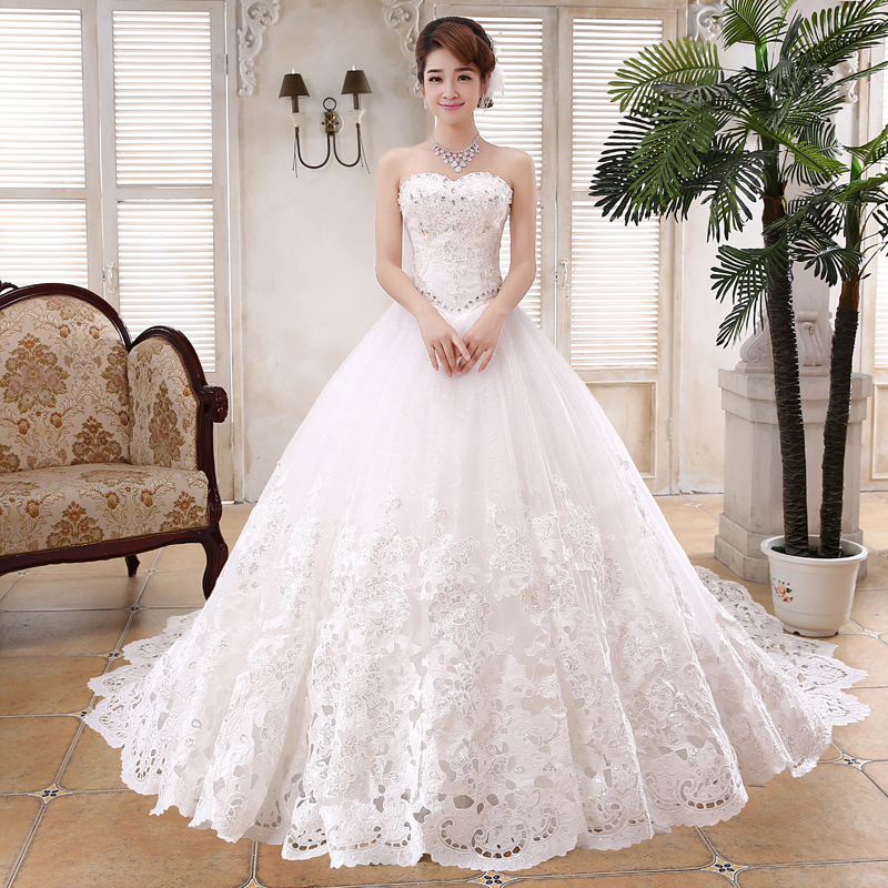 Wintty Crystal Wedding Dresses Long Train 2017 Lace Wedding Gowns ...