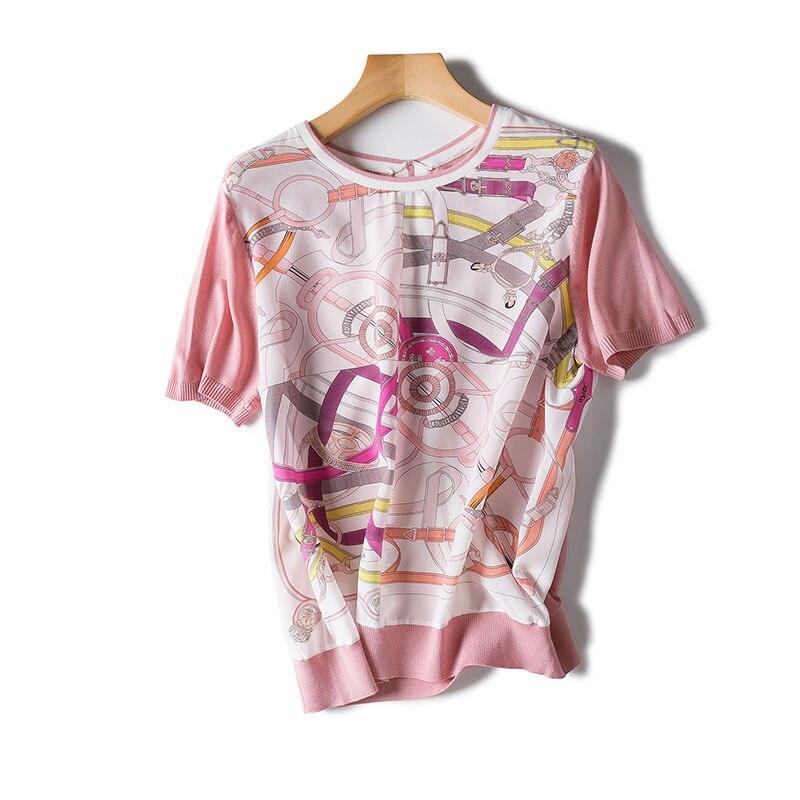 Gamme D'été Imprimé À 2018 Bleu Manches Nouvelles Tricoté Chaîne Femmes Haut Et Chemise rose Courtes Boutique Soie De Printemps 0yvO8wmNn
