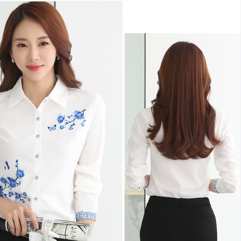 Long Sleeve Blue butterfly Flower Print Blouse Women 2021 Summer fall Top Elegant Work Office Plus Size Shirt White Blouse C181 2