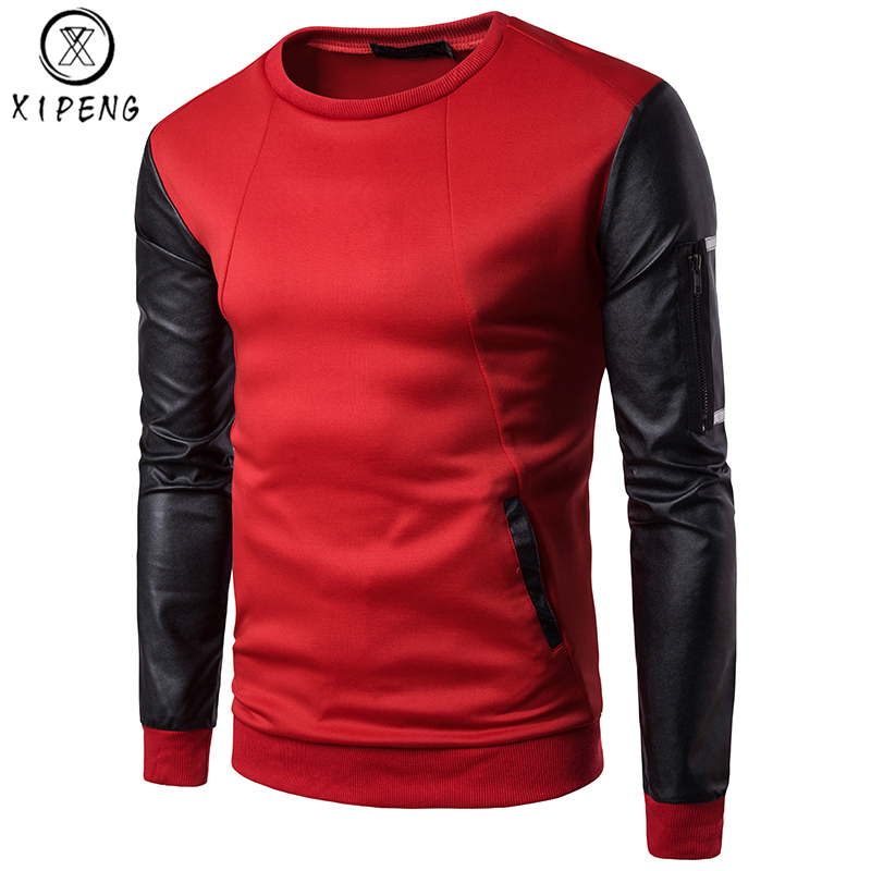 Patchwork Sweatshirt Men Women Pu Leather Sleeve Pocket Mens Sweatshirts Casual O Neck Sweat Homme Fashion Hip Hop Tracksuit Men