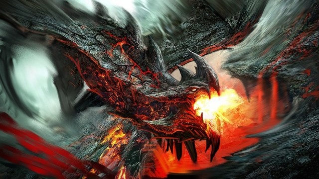 living room home wall decoration fabric poster dragon fire artwork
