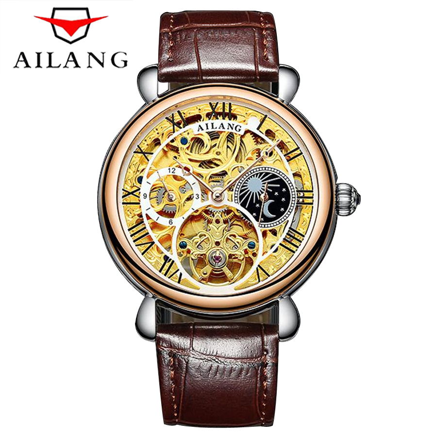 AILANG Golden Case Luxury Casual Design Brown Leather Strap Mens Watches Top Brand Luxury Mechanical Tourbillon Skeleton Watch winner transparent golden case luxury casual design brown leather strap mens watches top brand luxury mechanical skeleton watch
