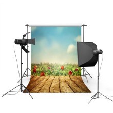 5x7ft Easter Photographic Camera Backgrounds Wood Floor Blue Sky Green Lawn Photo Backdrops Easter Backgrounds For Photo Studio