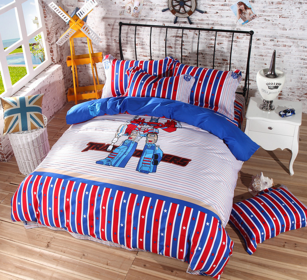100% cotton cartoon Optimus Prime Bumblebee Transformers bedding set ...