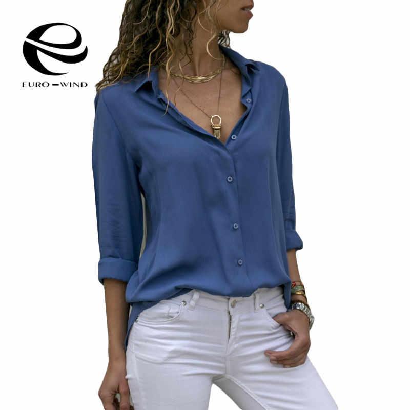 17 スタイルプラスサイズ 5XL ブラウス女性 2019 レディースとブラウス長袖 V ネックプリント固体トップスシャツ Blusas mujer · デ · モーダ