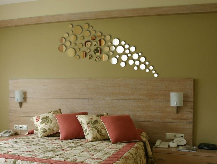 Free shipping 65ps round acrylic mirror sticker , different round wall 3D decal sticker