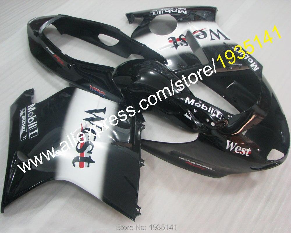 Vendite calde, ovest kit Per Honda CBR 1100 XX CBR1100XX 96-07 1996-2007 ABS di Plastica bianco nero moto Carenatura (stampaggio ad iniezione)