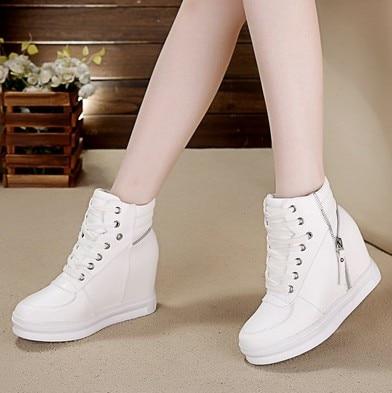 SWYIVY Wdege Sneakers Woman Platform 2018 Autumn Female White Shoes Casual High Top New Zipper Fashion