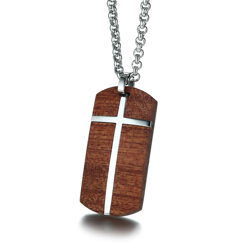 Unique Mens Necklaces Hand Crafted Rosewood Cross Inlay Pendant Necklace Men Wood Jewelry with Stainless Steel 24 Chain collare mprainbow mens necklaces stainless steel double dragon cross sword pendant necklace for men vintage punk animal bike jewelry