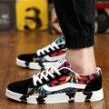 Compras de la gota Coloridos Zapatos de Los Hombres Zapatos Casuales tendencia de La Moda Transpirable Cómodo Suave Bajo Zapato Plano con cordones de Los Hombres zapatos de Lona