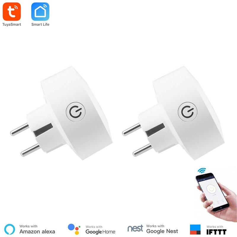 Tuya Smart EU Power Monitoring WiFi Socket Wireless Plug Smart Home Switch Compatible With Google Home , Alexa Voice Control