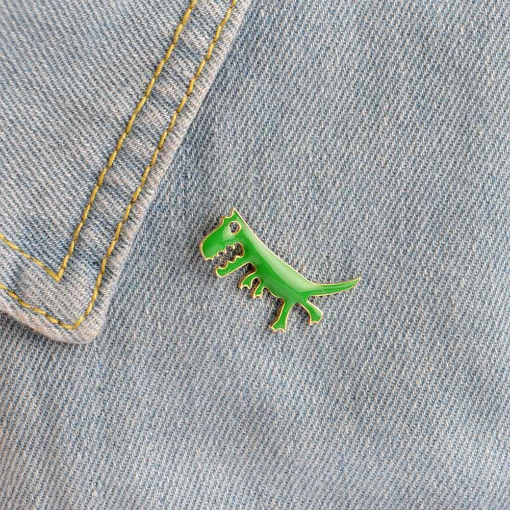 1 pz Cute Cartoon Dinosauro Verde Smalto Spilla Camicia Colletto della Giacca Badge Pins Monili Svegli Metallo Spille Animali
