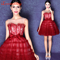 2016 New Arrival Homecoming Dresses Burgundy Ball Gown Short Lovely Graduation Dresses with Lace for Sweet 16 Bandage Party Gown
