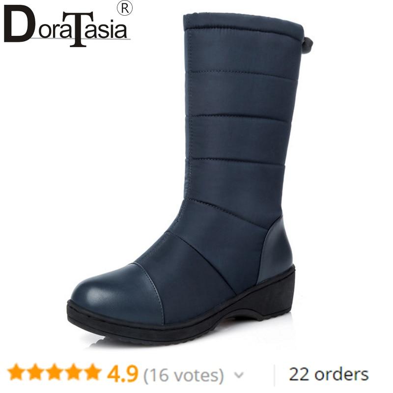 DoraTasia Fashion Women Snow Boots Ladies Warm Winter Fur Shoes Rubber Wedge Med-Half Platform Shoes Winter Boots Big size 35-44 цена