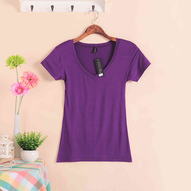 Solid Color Short Sleeve Cotton V-neck  Women's T-shirt