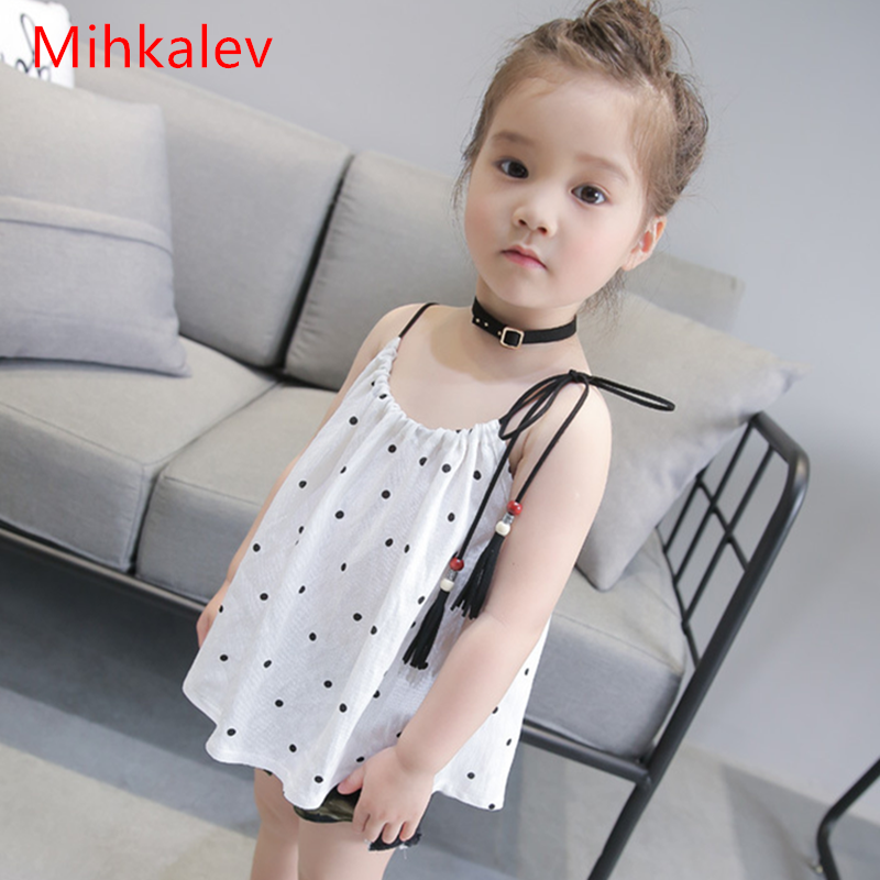 Mihkalev baby girl summer top Causal girls polka Dot sling tshirt for children leisure clothing outfits kids sleeveless clothes
