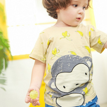 Little maven brand children clothing 2017 new summer baby boy clothes Cotton lovely monkey print t shirt 60239